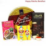 Danish Swiss Joy - Danish Butter Cookies 454 gms, Lindt Classic Dark Chocolate 100 gms with Bhaiya Bhabhi Rakhi Pair and Roli-Chawal