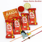 Kitkat Bonanza - 4 Kitkat with Kids Rakhi & 1 Fancy Rakhi and Roli-Chawal