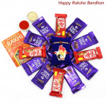 Choco Bonanza - 8 Dairy Milk, 4 Kitkat with 1 Kids Rakhi & 1 Fancy Rakhi and Roli-Chawal