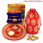 Healthy Thali Delight - Designer Ganesh Thali, Almonds 100 gms in Potli (D) with 2 Rakhi and Roli-Chawal