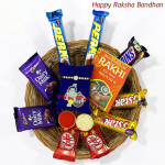 Choco Treasure - Snickers, 2 Dairy Milk, 2 Five Star, 2 Kitkat, 2 Perk with 1 Kids Rakhi & 1 Rakhi and Roli-Chawal