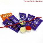 Dairy Surprise - 5 Dairy Milk with Kids Rakhi and Roli-Chawal