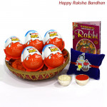Joy for Kids - 5 Kinder Joy in Basket with Kids Rakhi and Roli-Chawal