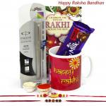 Complete Bliss - Parker Beta Standard Ball Pen, Happy Rakhi Mug, Dairy Milk Fruit N Nut with 2 Rakhi and Roli-Chawal