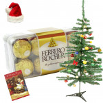 Xmas Delight - Ferrero Rocher 16 pcs, Christmas Tree with Santa Cap and Greeting Card