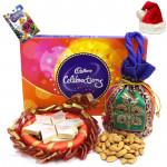 Merry Enjoyment - Almonds in Potli (D), Cadbury Celebrations, Kaju Katli, Decorative Thali with Santa Cap and Greeting Card