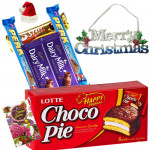 Choco Xmas - Chocopie, 5 Assorted Bars, Merry Christmas with Santa Cap and Greeting Card