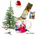 Christmas Delight - Wish You a Merry Christmas Mug, Ferrero Rocher 4 Pcs, Christmas Tree with Santa Cap and Greeting Card