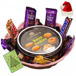 Santa's Present - Danish Butter Cookies, 3 Cadbury Dairy Milk Silk, Snickers, Mars, Twix, Dairy Milk Crackle, 1 Five Star with Santa Cap and Greeting Card