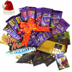 Yule Blessings - 4 Dairy Milk Silk, 3 Temptations, 3 Bournville, 2 Dairy Milk Fruit n Nut, 2 Dairy Milk Crackle, Snickers, Mars, Twix, Bounty, 5 Dairy Milk with Santa Cap and Greeting Card