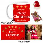 Xmas Blessings - Wish You a Merry Christmas Mug with Santa Cap and Greeting Card
