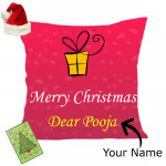 Christmas Cheer - Merry Christmas Cushion with Santa Cap and Greeting Card