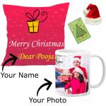 Lovely Xmas - Christmas Cushion & Mug with Santa Cap and Greeting Card