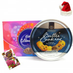 Christmas Sweet Greetings - Cadbury Celebrations, Danish Butter Cookies with Santa Cap and Greeting Card