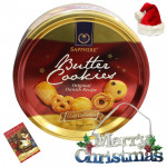 Christmas Wonder - Danish Butter Cookies, Merry Christmas with Santa Cap and Greeting Card