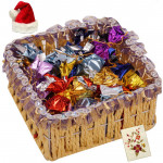 Xmas Choco Delight - Handmade Chocolates in Basket with Santa Cap and Greeting Card