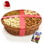 Healthy Xmas - Assorted Dryfruits Basket with Santa Cap and Greeting Card