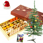 Sweet Yule Delight - Special Kaju Mix, Christmas Tree with Santa Cap and Greeting Card