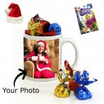 Christmas Mug Delight - Wish You a Merry Christmas Mug, Handmade Chocolates with Santa Cap and Greeting Card