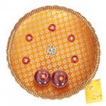 Orange Radial - Puja Orange Thali (8 inch) and Card