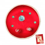 Red Pooja - Puja Red Thali (8 inch) and Card