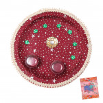 Maroon Divine - Puja Maroon Thali (8 inch) and Card
