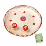White Combo - Puja White Thali (8 inch) and Card