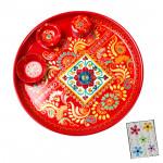 Handworked - Meenakari Thali (6 inch) and Card
