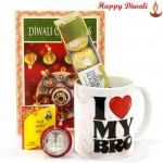 Ferrero Mug - I Love My Bro Mug, Ferrero Rocher 4 Pcs with Bhaidooj Tikka and Laxmi-Ganesha Coin