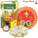 Designer Delight Tikka -  Kaju Katli, Ganesh Designer Thali with Bhaidooj Tikka and Laxmi-Ganesha Coin