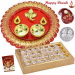 Ganesha Divine Tikka - Ganesha Designer Thali, Kaju Anjir Roll with Bhaidooj Tikka and Laxmi-Ganesha Coin