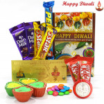Diwali Special Chocolate - 5 Assorted Bars, 2 Kitkat, Gems, 24 Carat Gold Plated Dhan Laxmi Varsha Note with 4 Diyas and Laxmi-Ganesha Coin