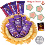 Diwali Cadbury Thali - 5 Cadbury Dairy Milk Bars, 3 Cadbury Fruit n Nut, Decorative Thali with 4 Diyas and Laxmi-Ganesha Coin