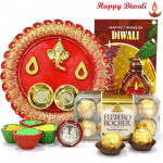 Ferrero Designer Thali - Ferrero Rocher 16 pcs, Ganesh Designer Thali with 4 Diyas and Laxmi-Ganesha Coin