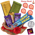 Branded Chocolate Basket - 5 Assorted Cadbury Bars, 2 Temptation, Red Basket with 4 Diyas and Laxmi-Ganesha Coin