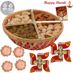 Dryfruit & Chocolate Combo - Assorted Dryfruits 200 gms Basket, Auspicious Swastika with 4 Diyas and Laxmi-Ganesha Coin