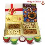 Diwali Dryfruit Treat - Assorted Dryfruits 200 gms, 24 Carat Gold Plated Dhan Laxmi Varsha Note with 4 Diyas and Laxmi-Ganesha Coin