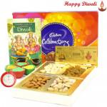 Dryfruits Celebration - Assorted Dryfruits 200 gms, Cadbury Celebrations 121 gms, 24 Carat Gold Plated Dhan Laxmi Varsha Note with 4 Diyas and Laxmi-Ganesha Coin