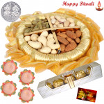 Ferrero Dry Fruits Thali - Assorted Dry Fruits 200 gms, Ferrero Rocher 4 pcs, Decorative Thali with 4 Diyas and Laxmi-Ganesha Coin