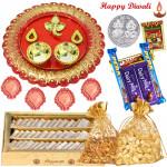 Dry Fruits Katli Thali - Cashew & Almond 200 gms in Potli, Kaju Katli 250 gms, 5 Assorted Cadbury Bars, Ganesha Designer Thali with 4 Diyas and Laxmi-Ganesha Coin