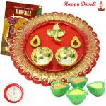 Attractive Designer Thali - Ganesh Designer Thali with 4 Diyas and Laxmi-Ganesha Coin