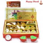 Delicious Kaju Mix - Kaju Mix, 24 Carat Gold Plated Dhan Laxmi Varsha Note with 2 Diyas and Laxmi-Ganesha Coin