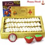 Sweet Laxmi Blessings - Kaju Katli, 24 Carat Gold Plated Dhan Laxmi Varsha Note with 2 Diyas and Laxmi-Ganesha Coin