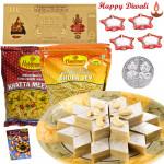 Chatpata Hamper - Kaju Katli 250 gms, 2 Haldiram Namkeen with 4 Diyas and Laxmi-Ganesha Coin