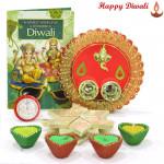 Designer Katli Thali - Kaju Katli 250 gms, Ganesh Designer Thali with 4 Diyas and Laxmi-Ganesha Coin