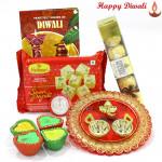 Soan Ferrero Thali - Soan Papdi 250 gms, Ferrero Rocher 5 pcs, Ganesh Designer Thali with 4 Diyas and Laxmi-Ganesha Coin