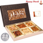 1 Kg Assorted Dryfruits (6 items) in Decorative Box with Laxmi-Ganesha Coin