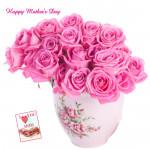Rose Vase - 20 Pink Roses Vase and card