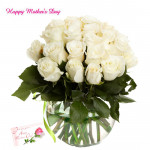 White Delight - 18 White Roses in Vase and card