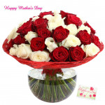 Red N White Vase - 36 Red & White Roses in Vase and card